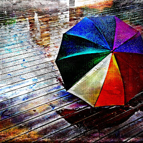 It's Raining Again by Randi Grace Nilsberg - Digital Art Things ( colorful, assistance, drop, covering, equipment, storm, shielding, photography, colour, nature, autumn, parasol, weather, objects, rain, hdr_toning, abstract, protection, water, household objects/equipment, hdr, thunderstorm, textures, umbrella, brolly, concepts and ideas, horizontal, fall, shower, sheltering, outside, april showers,  )