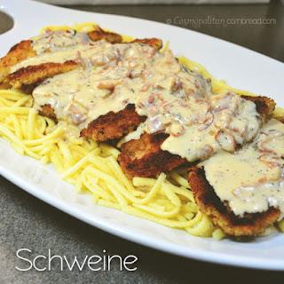 Classic German Schweine Schnitzel.