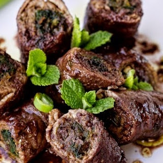 Nettle-Filled Beef Rolls in Red Wine and Balsamic Vinegar