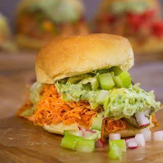 Pulled Buffalo Bills Chicken with Cool-Your-Jets Ranch Guacamole.