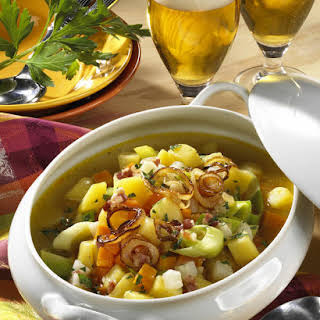 Chunky Root Vegetable and Bacon Soup.