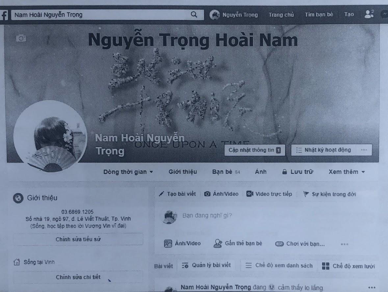 Trang Fb của Nguyễn Hoài Nam