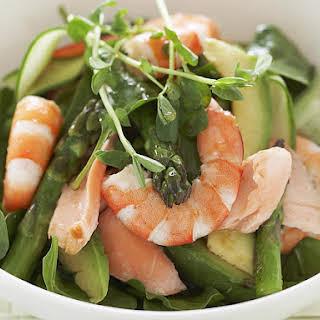 Asparagus, Salmon, Shrimp and Spinach Salad.
