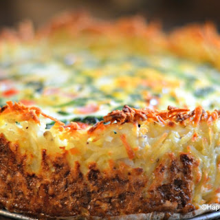 Spinach and Gruyere Cheese Quiche with a Hash Brown Crust.