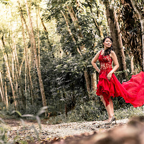 red in the woods by Lee Miko - People Portraits of Women ( red, redgown, woman, lady, gown, beauty )