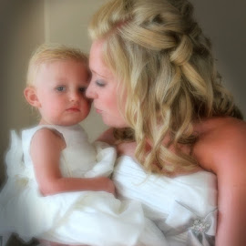 by Lena Arkell - Wedding Bride ( bride, mother, toddler, white, flower girl, wedding, infant, girl, daughter, child )