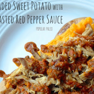Loaded Sweet Potato with Roasted Red Pepper Sauce