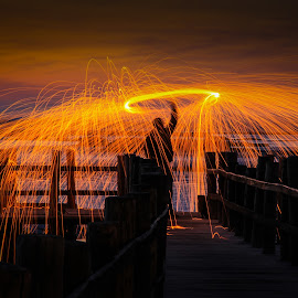 Sunset Fireworks by Mário Peneck - Abstract Light Painting ( sunset, fireworks, landscape, fire )