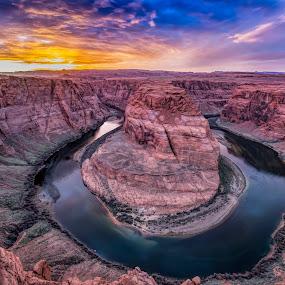 Horseshoe Bend by Jeffrey Genova - Landscapes Sunsets & Sunrises ( clouds, sky, desert, sunset, southwest, cloudscape, rock formation, river,  )