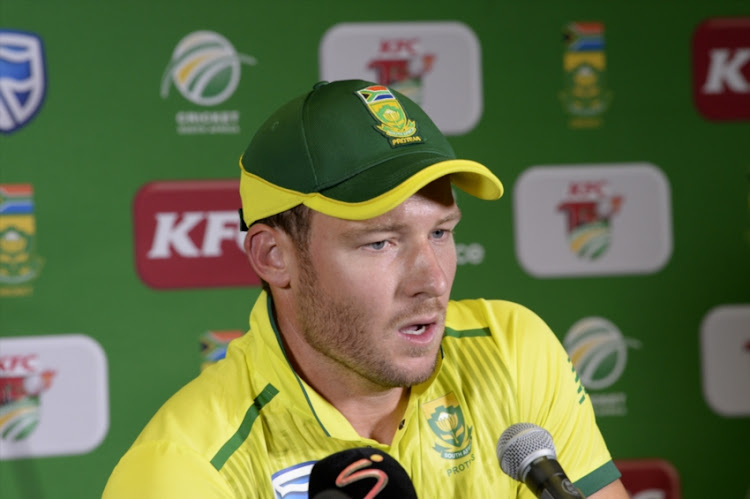 David Miller of the Proteas during the 3rd KFC T20 International match between South Africa and Pakistan at SuperSport Park on February 06, 2019 in Pretoria, South Africa.