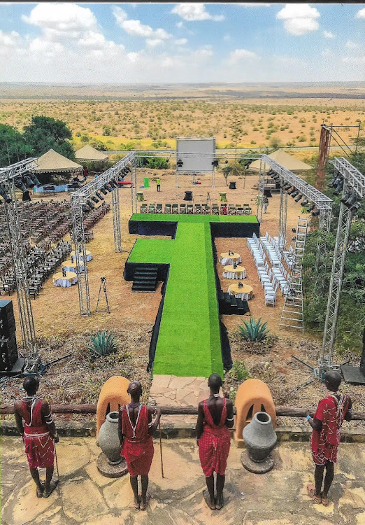 Preparations for the monumental African Twilight show at African Heritage House overlooking the Nairobi National Park