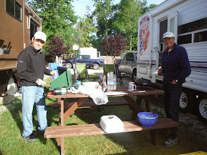Photo: Day 40 Manitowoc to Ludington MI  Pat and Jim, cooking breakfast