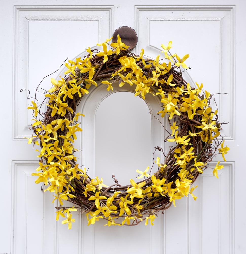spring wreath on door
