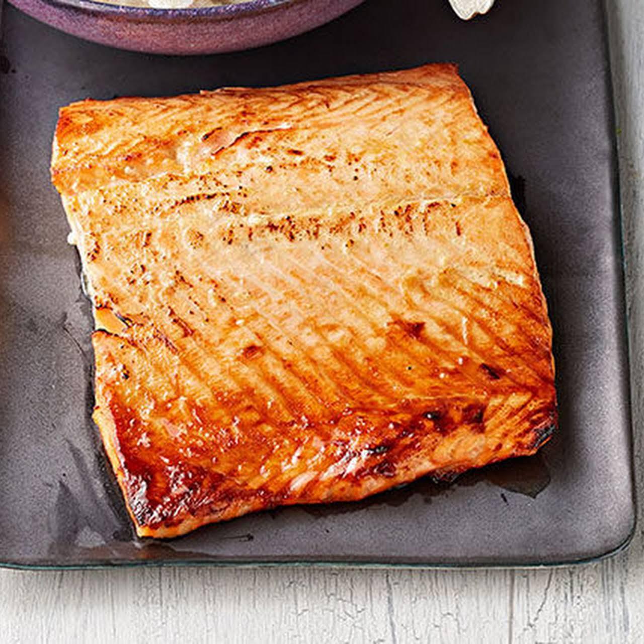 Honey-Dijon Salmon with Creamy Cauliflower Mash