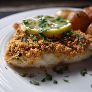 Simple Oven Baked Garlic Oregano Crusted Cod Fish.