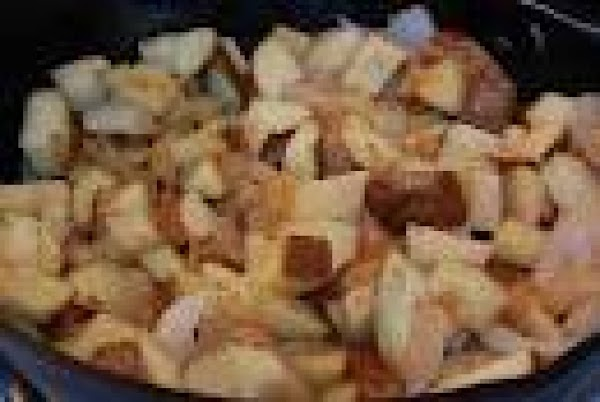 Cut your potatoes into bite size pieces and add to your meat mixture. Cook...