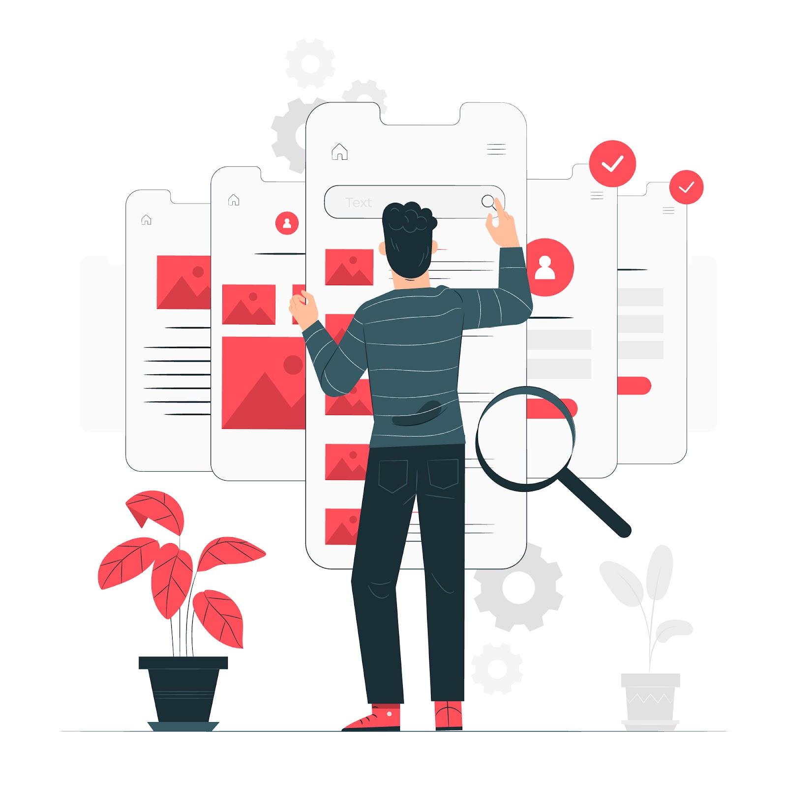 ilustração de pessoa fazendo o designer para melhorar a experiência do usuário