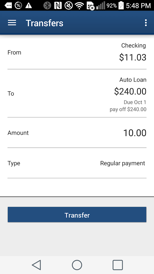 ETFCU Mobile- screenshot
