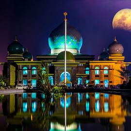 Mosque at Pekanbaru Indonesia by Max Lee - Buildings & Architecture Places of Worship ( pekanbaru, moon, mosque, reflection, landmark, worship, indonesia, double exposure )