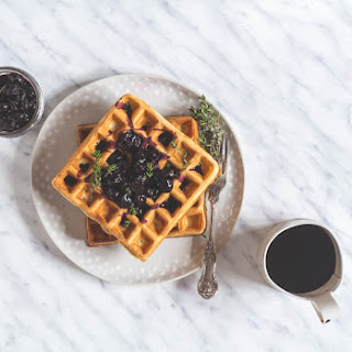 Orange and Thyme Waffles with Blueberry Compote Recipe