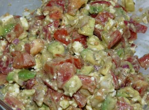 "Avocado Feta Salsa ""With the richness of avocado and the bright tangy..."
