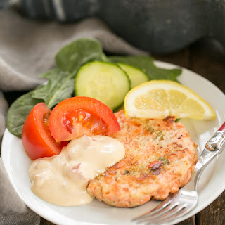 Fresh Salmon Cakes with Homemade Remoulade.