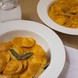 Ravioli in Pumpkin Cream Sauce.