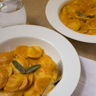 Ravioli in Pumpkin Cream Sauce.