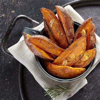Roasted Garlic & Rosemary Sweet Potato Wedges.
