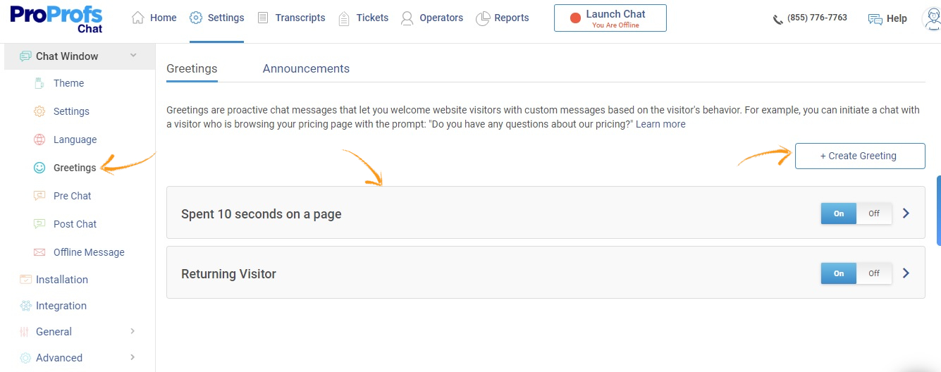 ProProfs live chat greetings page