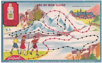 """Photo: En route pour le monastère de la Grande Chartreuse dans ce """"jeu du bon guide"""" ! Fiole d'élixir à portée de main, il s'agit de déjouer les embuches du parcours et de parvenir à sa destination par la bonne voie. Vous noterez la mention publicitaire en bas du document..."""