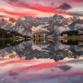 Misurina Lake by Alessandro Genero - Landscapes Waterscapes ( clouds, water, mountains, mountain, sunset, reflections, lake, dolomites, landscape, landscapes,  )