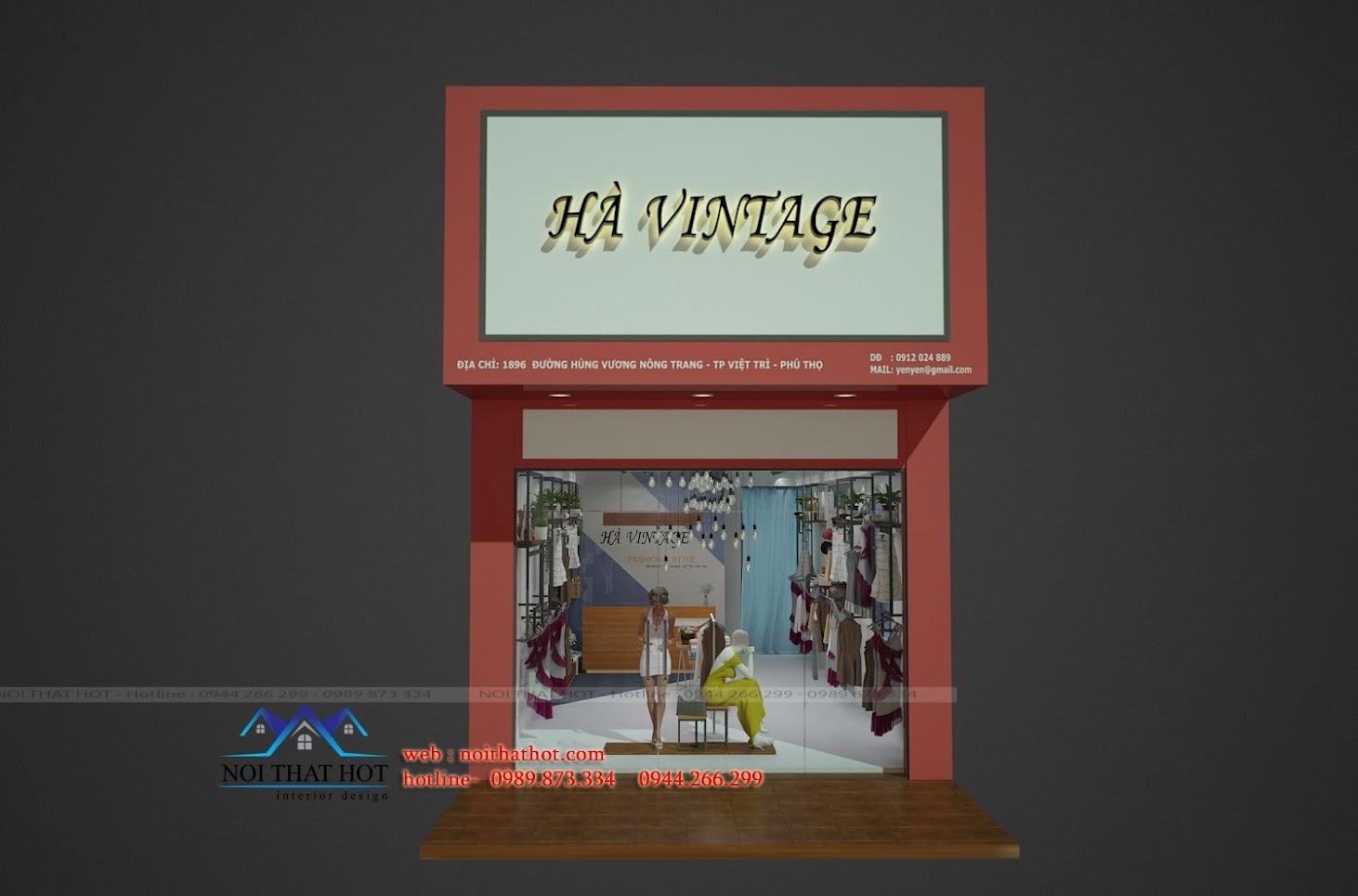 thiết kế shop thời trang nữ Hà Vintage độc đáo
