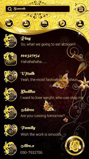 (FREE) GO SMS SHINY GOLD THEME screenshots 2