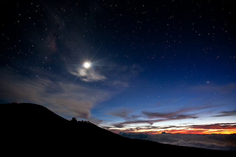 Photo: Stars Over Haleakala For the #PlusOneCollection , a photography book from Google+ for charity. +Plus One Collection by +Ivan Makarov  The Sun and Moon Must Make Their Haste by Emily Dickinson  The Sun and Moon must make their haste — The Stars express around For in the Zones of Paradise The Lord alone is burned —  His Eye, it is the East and West — The North and South when He Do concentrate His Countenance Like Glow Worms, flee away —  Oh Poor and Far — Oh Hindred Eye That hunted for the Day — The Lord a Candle entertains Entirely for Thee —