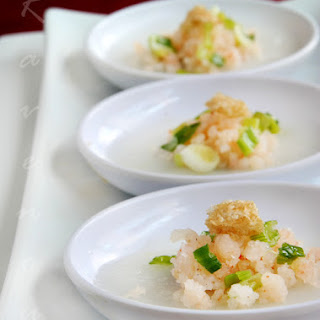 Banh Beo Steamed Rice Cakes with Shrimp and Pork Rinds.