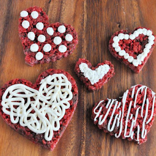 Red Velvet Rice Krispies Treats Hearts