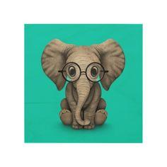 Cute Baby Elephant with Reading Glasses Blue