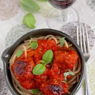 Spaghetti With Chorizo Meatballs And Homemade Tomato Sauce.