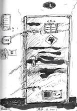 Photo: 春意盈門2011.02.06鋼筆 舍房應景地貼上倒春字,人雖在關,但畢竟年還是要過啊!