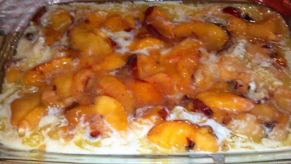 Put the 1st bowl of sugared sliced peaches and nectarines on the top of...