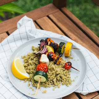 Greek Grilled Veggie Skewers with Pesto Quinoa.