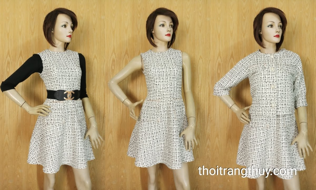 Áo khoác nữ và Váy liền xòe vải tweed V654 Thời Trang Thủy