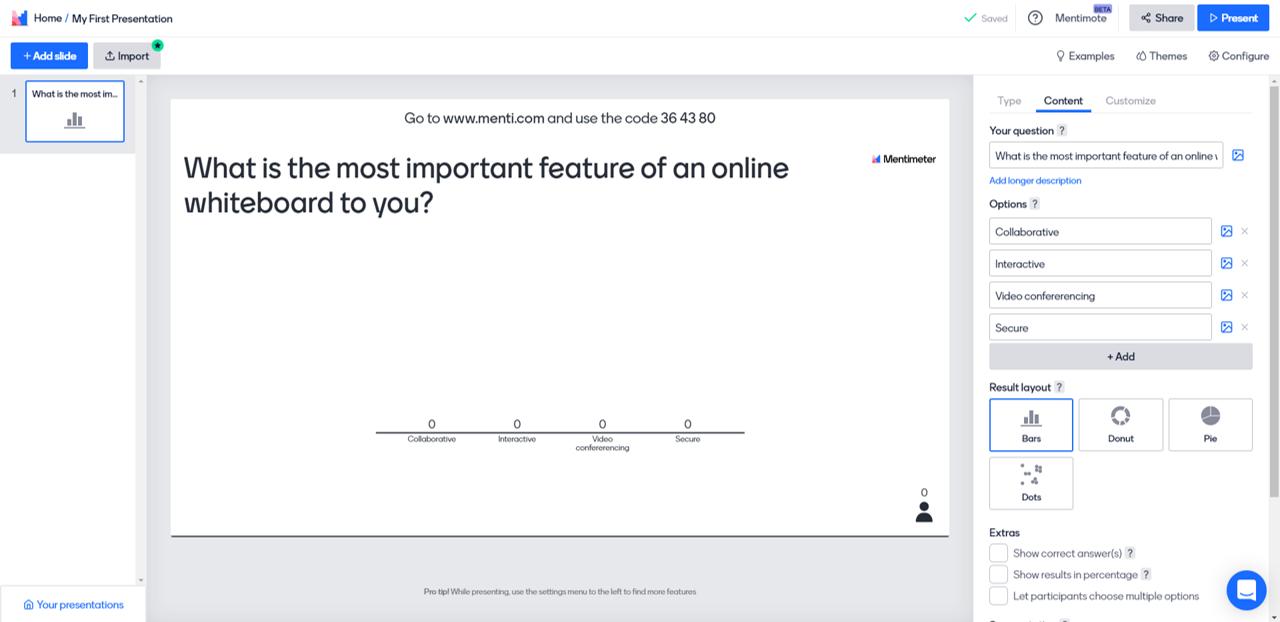 Online teaching tool: Mentimeter dashboard