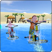 Kids Bicycle Race Water Surfing