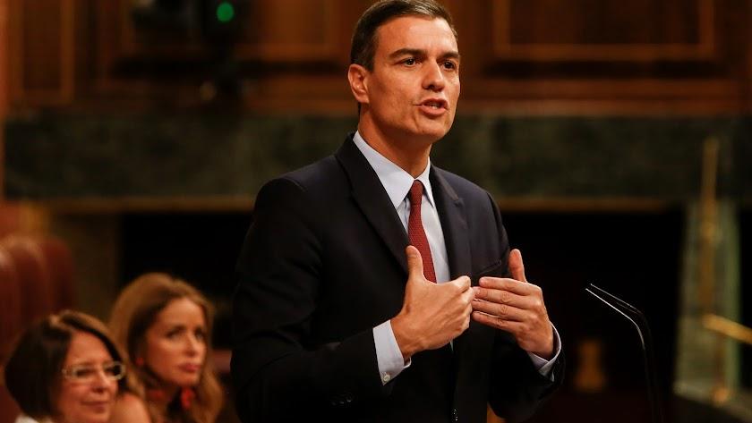 Pedro Sánchez, ayer en el Pleno de investidura.