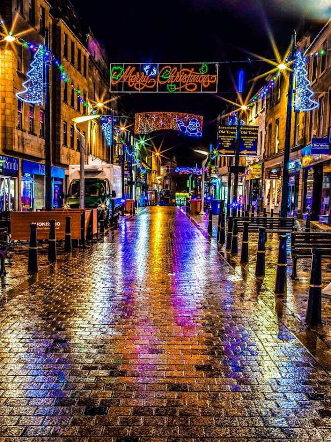 Inverness Streets of gold  by Gordon Bain - City,  Street & Park  Night ( scotland, uk, christmas, inverness )