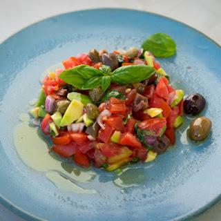 Tomato, Olive And Avocado Fresh Summer Salad.