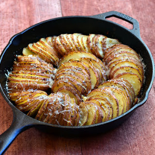 Hasselback Potatoes with Parmesan and Roasted Garlic.