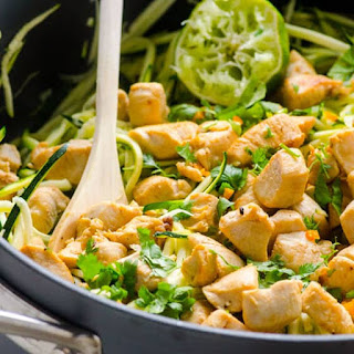 Zucchini Noodles with Chicken, Cilantro and Lime Recipe
